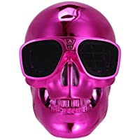 BeatlesStore(Pink) Hot Sell New Portable Metal Skull Glasses Wireless Bluetooth Super Bass Speaker