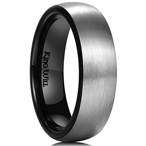 Domed Comfort Fit Wedding Band (King Will BASIC 8MM Titanium Ring Matte Brushed Black Comfort Fit Domed Wedding Band For Men12)