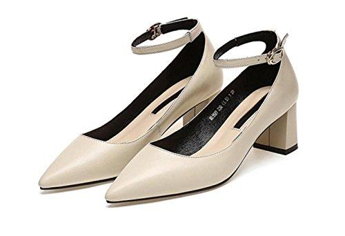 Et Printemps Shallow Épais Talon Eté Shoes Nouvelles MUYII Sandales Femmes Beige Casual BEWan5wOqO
