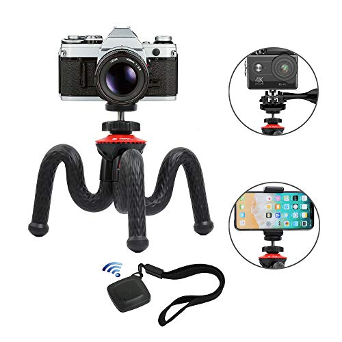 Flexible Tripod, Vomercy Travel Tripod Stand with Bluetooth Remote, 360 Degree Spherical Camera Time-Lapse Photography, Compatible with Mini Camera, GoPro and Any Mobile Phone by Vomercy