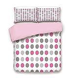 dark grey curtains asda Pink Duvet Cover Set,FULL Size,Traditional Retro Polka Dots Design European Ancestral Motif Pastel Colors,Decorative 3 Piece Bedding Set with 2 Pillow Sham,Best Gift For Girls Women,Pink White Grey