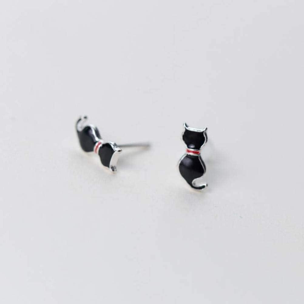 WOZUIMEI S925 Pendientes de Plata Estilo Japonés Y Coreano para Mujer Pendientes de Gato Negro Simple Joyería de Oreja Joyería de Animales de Mujer Lindaun par, Plata 925