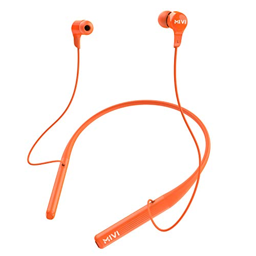 Mivi Collar 2B Wireless Earphones, Bluetooth Earphones with mic, Fast Charging, Powerful Bass, HD Sound and Made in India Neckband – Orange