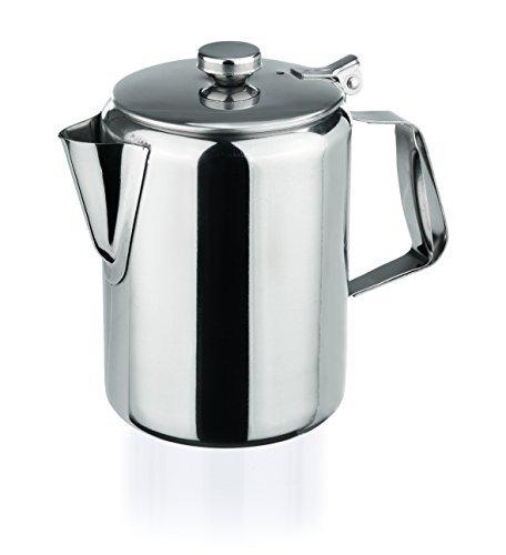 Edelstahl Kaffeekanne 350ml mit Scharnierdeckel hochglanzpoliert Chromnickelstahl klein Milchkanne Deckel My-Gastro