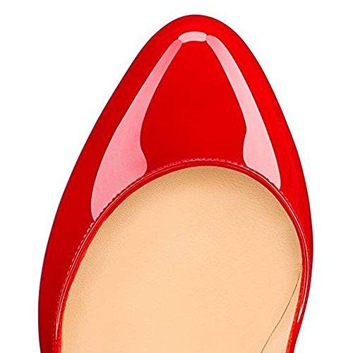 Caitlin Scivolare Punta Pan Doppia Festa Rosso Nozze Donna col Scarpe Rossa Stiletto Suola Pompe Scarpe Tacco su Chiusa Piattaforma XRqXpr