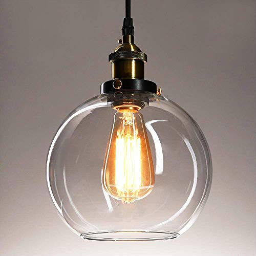 Glass Pendant Light Fixture - Frideko Vintage Ball Glass Ceiling Pendant Light - Industrial Style Globe Glass Lampshade Hanging Fixture Lighting with Adjustable Cord Length for Kitchen Island Dining Room, use E26 Edison Bulb
