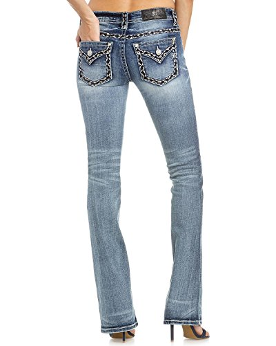 Miss Me Women's Heavy Stitched Boot Cut Jeans Indigo 33 by Miss Me