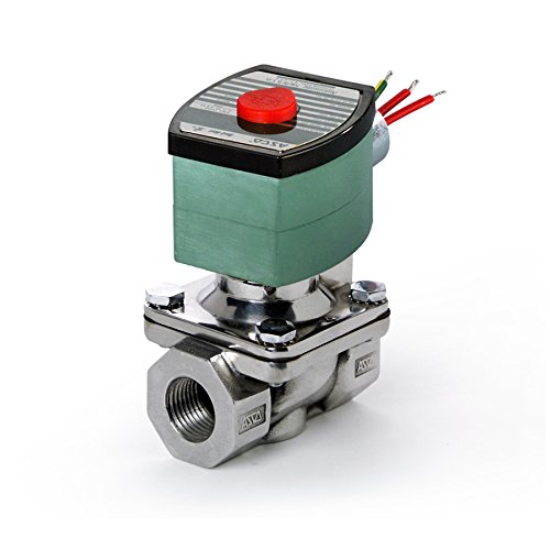 ASCO 8210G088-120/60,110/50 Stainless Steel Body Pilot Operated General Service Solenoid Valve, 3/4'' Pipe Size, 2-Way Normally Closed, Nitrile Butylene Sealing, 5/8'' Orifice, 5 Cv Flow, 120V/60 Hz, 11 by Asco
