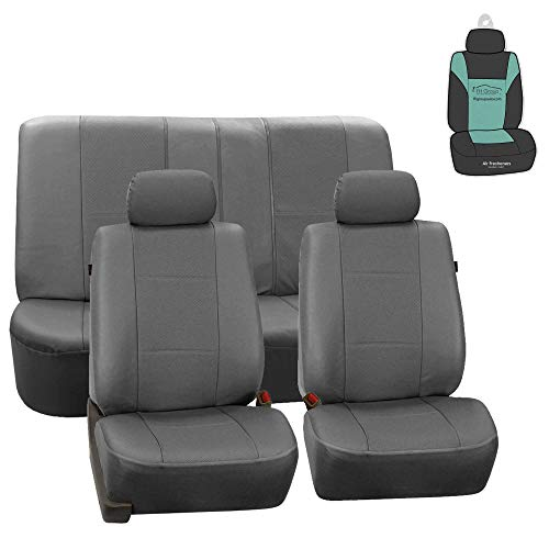 FH Group bPU007112 Deluxe Leatherette Car Seat Covers, Airbag compatible and Rear Split, Gray color w. Free Air Freshener