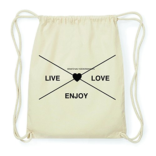 JOllify GRAFENAU NIEDERBAYERN Hipster Turnbeutel Tasche Rucksack aus Baumwolle - Farbe: natur Design: Hipster Kreuz