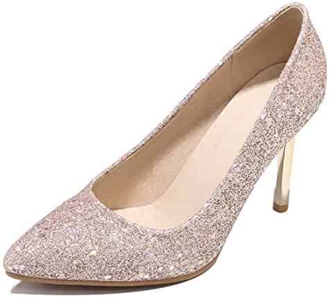 936d78e86d04 Easemax Women's Shining Sequins Pointed Toe Slip On High Stiletto Heel Low  Top Dress Pumps Shoes