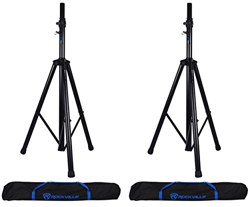 (2) Rockville RVSS4AB Tripod Speaker Stands With Hydraulic Lift-Up and Lowering Mechanism - Handles Speakers Up To 154 Lbs - Free Travel Bag Included by Rockville