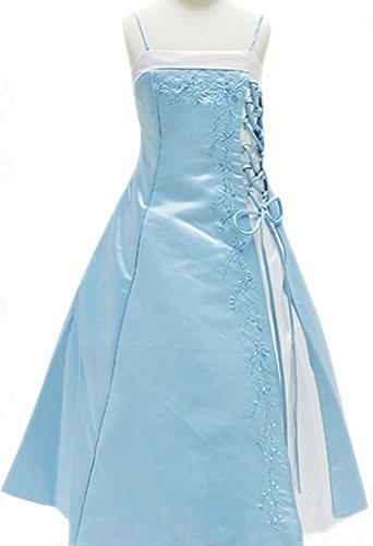 (AkiDress Satin A-Line Floral Caviar Elegant Flower Girl Dress Baby Blue 4-16)