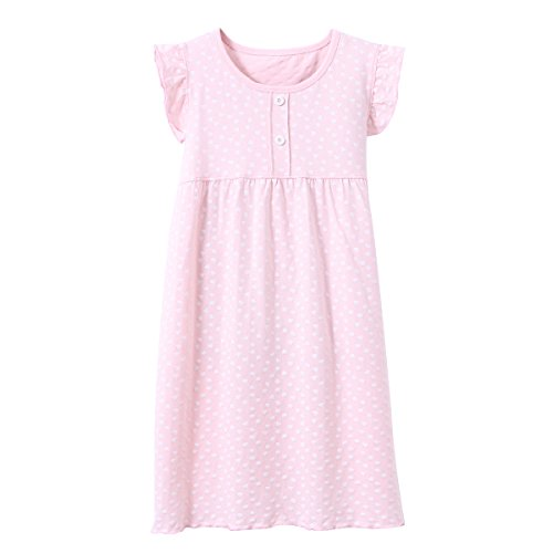DGAGA Little Girls Princess Nightgown Cotton Lace Bowknot Sleepwear Nightdress (7-8 Years/140cm, Pink) by DGAGA