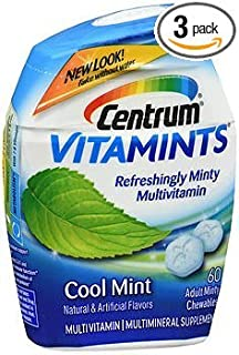 Centrum VitaMints Multivitamin/Multimineral Supplement Adult Chewables Cool Mint - 60 ct, Pack of