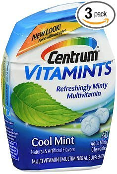 Centrum VitaMints Multivitamin/Multimineral Supplement Adult Chewables Cool Mint - 60 ct, Pack of 3