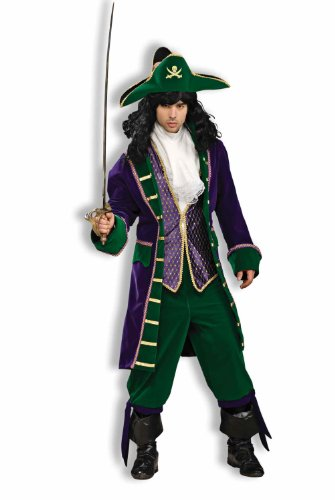 Forum Designer Collection Mardi Gras Buccaneer Adult Costume, Green/Gold/Purple, X-Large (Pirate Costume Jacket)