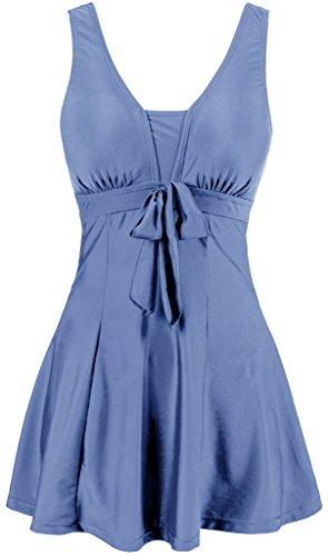Wantdo Women's One-Piece Push Up Swimsuit Cute Swimwear Bathing Suit Beachwear Gray Blue US 16-18