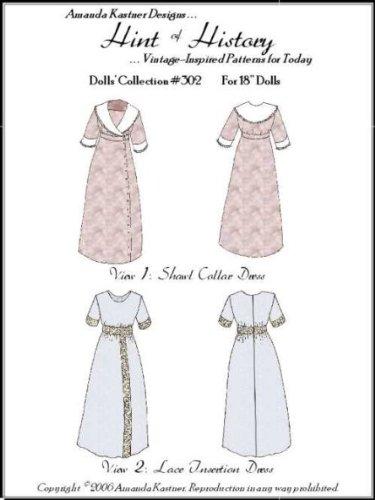 "Shawl Collar Dress & Lace Insertion Dress for 18"" Dolls"