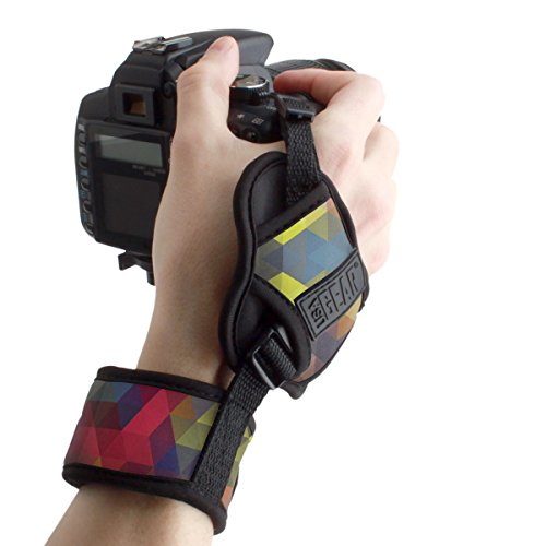 Professional Camera Grip Hand Strap with Geometric Neoprene Design and Metal Plate by USA Gear - Works With Canon , Fujifilm , Nikon , Sony and more DSLR , Mirrorless , Point & Shoot Cameras from USA Gear
