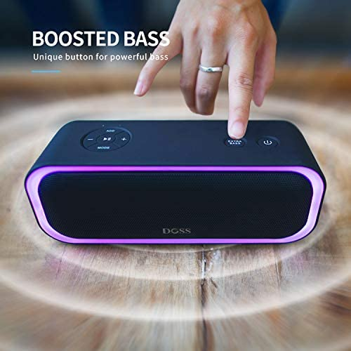 Bluetooth Speakers, DOSS SoundBox Pro Portable Wireless Bluetooth Speaker with 20W Stereo Sound, Active Extra Bass, Wireless Stereo Pairing, Multiple Colors Lights, IPX5, 20 Hrs Battery Life -Black 41fjVaWeyuL