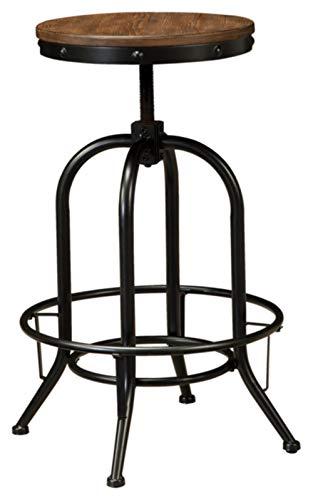 Round Set Bar Stool - Ashley Furniture Signature Design - Pinnadel Bar Stool - Pub Height - Set of 2 - Rustic Brown