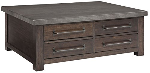 Ashley Furniture Signature Design - Starmore Cocktail Table with Drawers - Rustic Contemporary Coffee Table - (Oiled Bronze Appliances)
