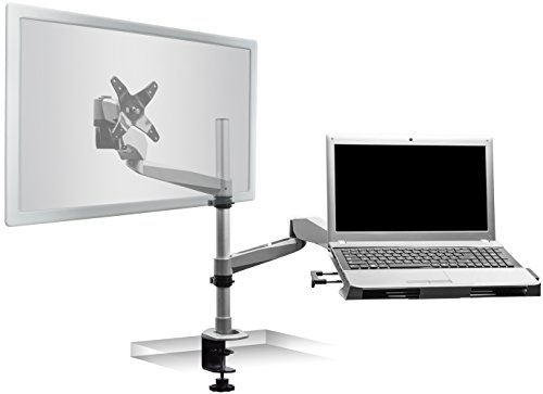 Mount-It! MI-75911 Dual Arm Full Motion Adjustable Height, Articulating, Tilting, Rotating, Desk Table Mount with Vented Laptop and Mouse Mount and Holder Stand for Laptops, Tablets, and Notebooks with LCD, LED, and PC Monitors Mount, Grommet, Silver by Mount-It!