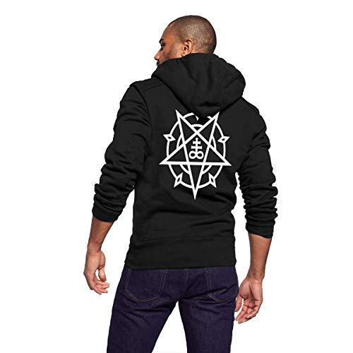 Hoodies for Men Lightweight Fitted Heather French Terry Full Zip Hoodie Jackets Fleece Hooded Sweatshirt - Pagan Pentagram Star Satan Satanic Cross Sign of Beast (Hoodie Zip Faith)