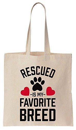 Rescued Is My Favorite Breed Sacchetto di cotone tela di canapa