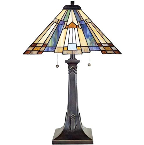 Quoizel TFT16191A1VA Inglenook Tiffany Table Lamp, 2-Light, 150 Watts, Valiant Bronze (25