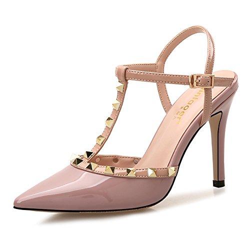 Xue Qiqi Ranurado sandalias de hebilla hembra con punta fina remache silvestres Baotou pequeños zapatos altos color fresca cruda Polvo en bruto 8CM