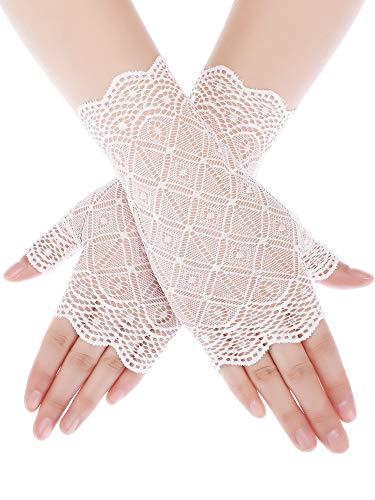 (Skylety Sunblock Fingerless Bridal Lace Gloves Short Floral Gloves Wrist Length Wedding Dress Gloves for Prom Evening Wedding Party (White 3))