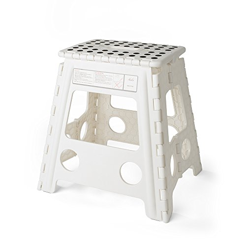 Acko 16 Inches Super Strong Folding Step Stool for Adults and Kids, White Kitchen Stepping Stools, Garden Step Stool, holds up to 400 LBS