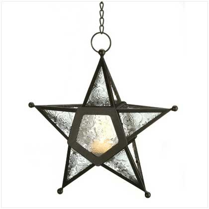 Gifts & Decor CLEAR GLASS STAR LANTERN (Hanging Candle Outdoor Lantern)