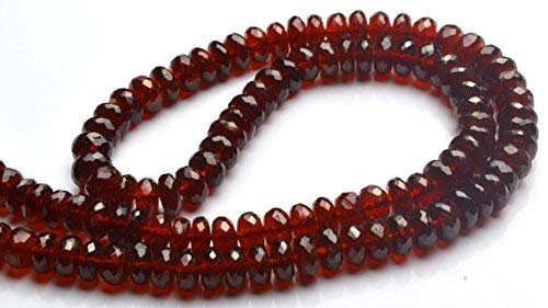 1 Strand Natural Hessonite Garnet Facet 7MM Rondelle Beads 17 Inch Long by LadoNarayani