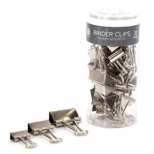 U Brands Binder Clips, Assorted Sizes, Silver Steel, 30-Count