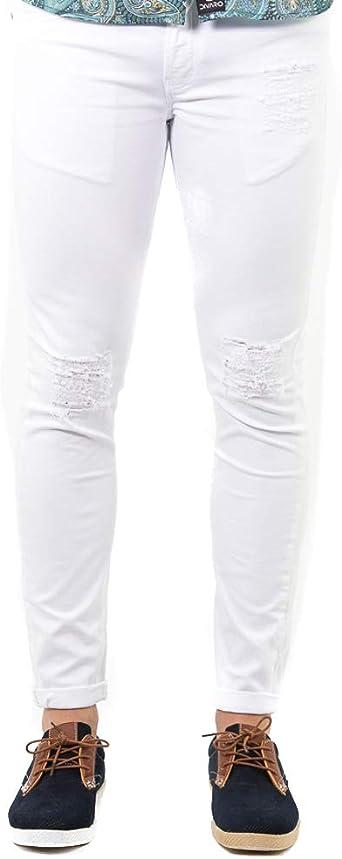 Divaro Pantalon Jeans Rotos Disponible En Color Negro Y Blanco Para Hombre Amazon Es Ropa Y Accesorios