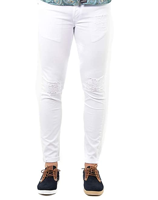 DIVARO - PANTALÓN Jeans Rotos - Disponible EN Color Negro Y Blanco - para Hombre (