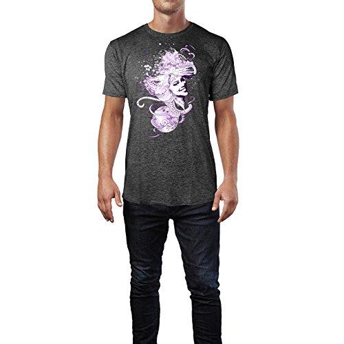 SINUS ART ® Lächelndes Mädchen im Wind Herren T-Shirts in dunkelgrau Fun Shirt mit tollen Aufdruck