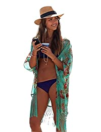 ad1a5041fd SYNN Summer Swimming Beach Cover Up Women Boho Chiffon Kimono Cover-UPS  Cardigan for Bikini