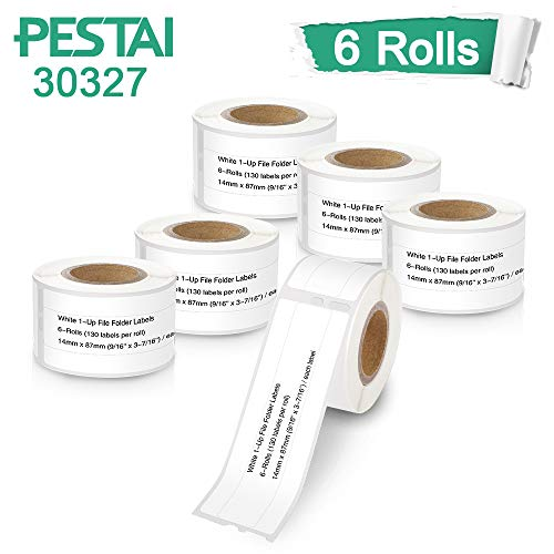 "PESTAI Compatible White 1-Up File Folder Labels Replacement for DYMO 30327 14mm x 87mm(9/16"" x 3-7/16"") for Labelwriter 450 330 400 Duo Twin Turbo Wireless Printers, ( 6 Rolls,130 Labels per Roll)"