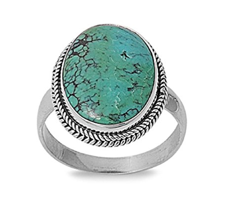 - Oval Simulated Turquoise Stone Rope Braid Edges Ring 925 Sterling Silver Size 9