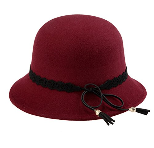 Santwo Wool Knit Cute Bowknot Fashion Vintage Floppy Winter Hat Deep Red