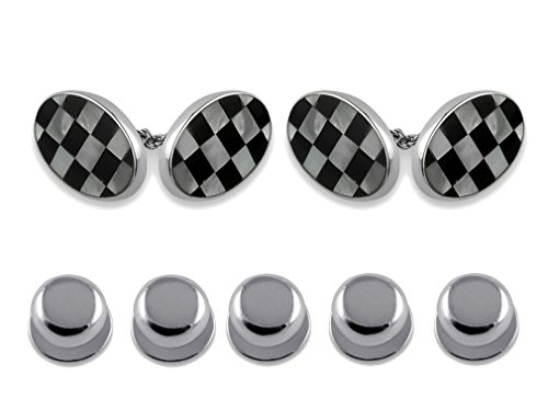 oval Gift amp; sided Set Dress Studs mother of Shirt Sterling double cuffllinks silver onyx pearl Z8AqqO