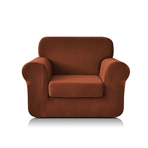 - CHUN YI 2-Piece Knit Polyester Spandex Fabric Armchair Slipcover Stretch Sofa Couch Cover Furniture Protector for 1 Seat Arm Chair with Separate Seat Cushion Cover (Chair, Coffee)