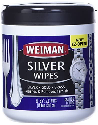 Weiman Jewelry Polish Cleaner and Tarnish Remover Wipes - 20 Count - Use on Silver Jewelry Antique Silver Gold Brass Copper and Aluminum