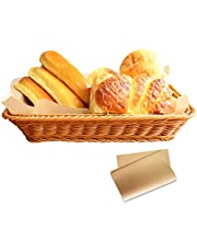 Woven Basket, timeriver Bread Basket Can Be Used Fruit, Vegetables and Bread Storage, Wicker Baskets 50 Sheet Tray Liner, Handwoven Easy to Clean, Suitable for Home, Restaurant, Hotel, Bakery