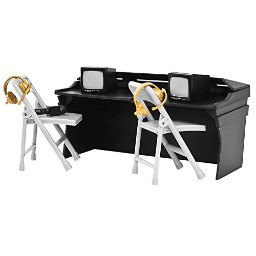 Black Commentator Table Playset for WWE Wrestling Action Figures (Toy Wwe Weapons)