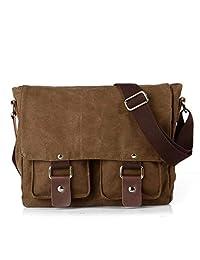Yingbo Canvas Messenger Bag Shoulder Bag Laptop Bag Computer Bag Satchel Bag Bookbag School Bag Working Bag for Men and Women (COFFEE)